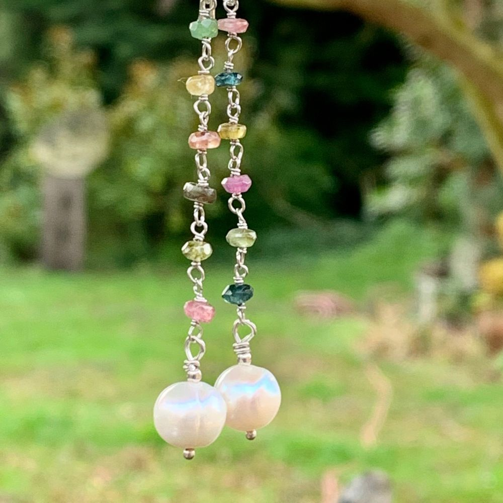 White Freshwater Pearl and Tourmaline Earrings, Rowena Watson Designs