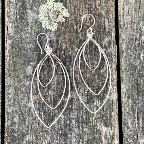 Dapped Sterling Silver Triple Marquise Earrings