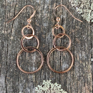 Rose Gold Fill Three Loop Earrings