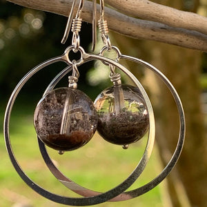 Phantom Quartz and Sterling Hoop Earrings, Rowena Watson Designs