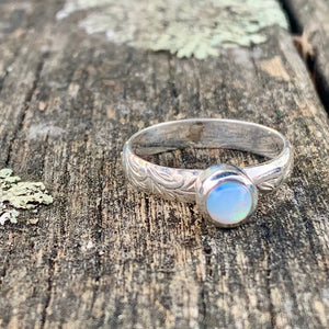 Ethiopian Opal Ring with Ornate Band, Rowena Watson Designs