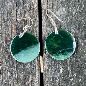 Round Marsden Flower Earrings, New Zealand Greenstone