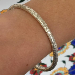 Solid Sterling Silver Hammered Bangle 4mm, Rowena Watson Designs