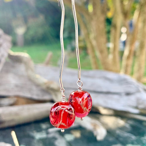 Long Red Czech Glass Earrings, Rowena Watson Designs