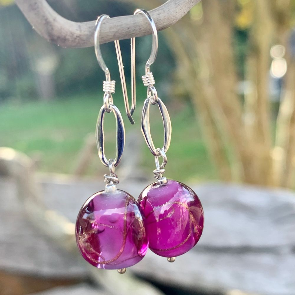 Purple Czech Glass Earrings, Rowena Watson Designs