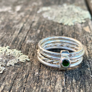 Fine Sterling Silver Chrome Diopside Unity Spinner Ring, Rowena Watson Designs