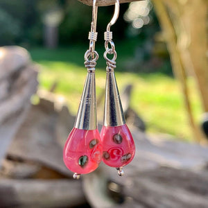 Pink Czech Rose Glass Drop Earrings, Rowena Watson Designs