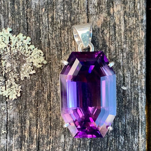 Large Afghani Amethyst and Sterling Silver Pendant, Rowena Watson Designs