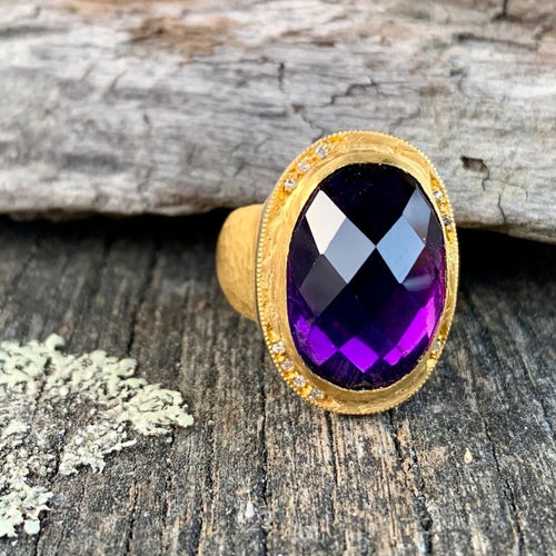 18ct Gold Amethyst and Diamond Ring, Kurtulan
