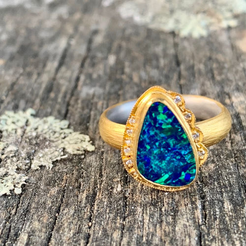18ct Gold Opal Doublet and Diamond Ring, Kurtulan