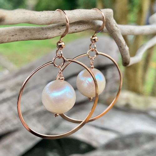 Freshwater Pearl and Rose Gold Fill Hoops Earrings, Rowena Watson Designs