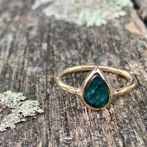 9ct Yellow Gold and Dark Green Tourmaline Ring, Rowena Watson Designs