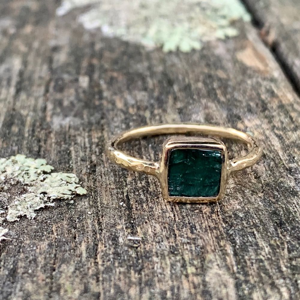 9ct Yellow Gold and Dark Green Square Tourmaline Ring, Rowena Watson Designs