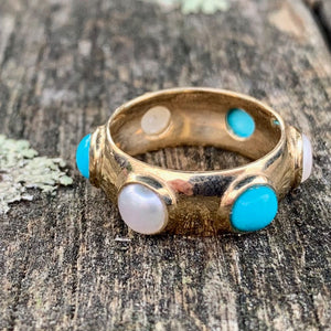 Sleeping Beauty Turquoise and Fresh Water Pearl Ring, 9ct Gold, Rowena Watson Designs