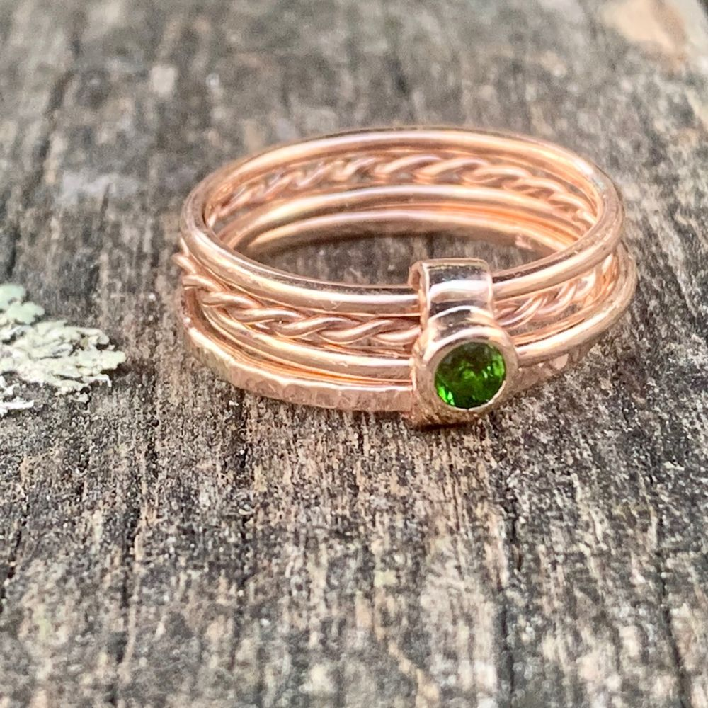9ct Rose Gold and Chrome Diopside Unity Spinner Ring, Rowena Watson Designs