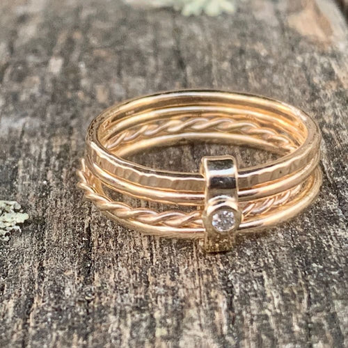 9ct Yellow Gold and Diamond Unity Spinner Ring, Rowena Watson Designs