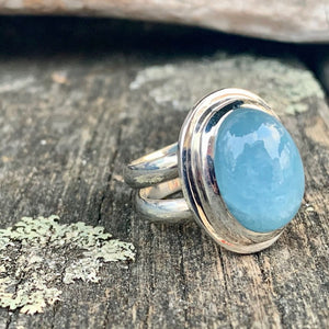 Oval Aquamarine Ring, Rowena Watson Designs