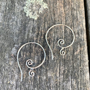 Sterling Silver Swirl Hoop Earrings