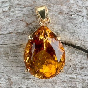 9ct Gold and Brazilian Citrine Teardrop Pendant, Rowena Watson Designs