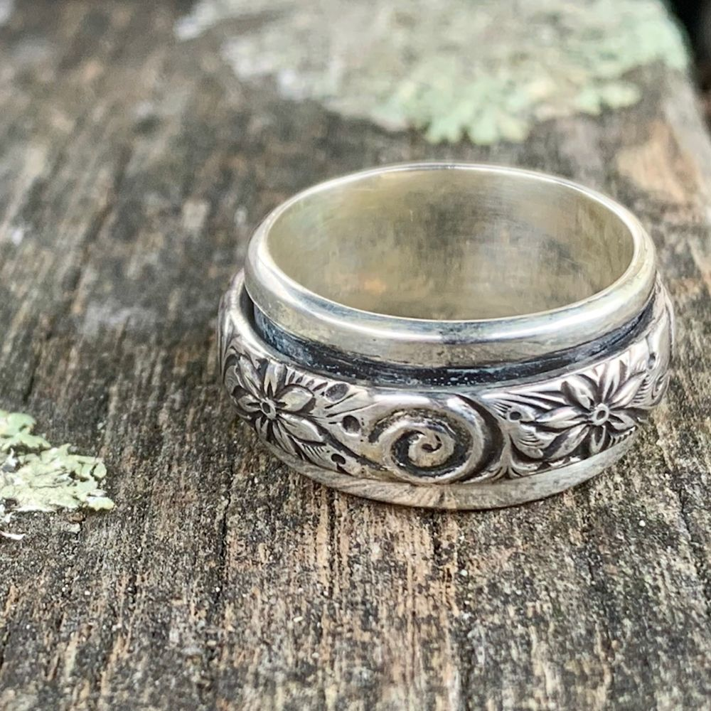 Floral Sterling Silver Spinner Ring, Rowena Watson Designs