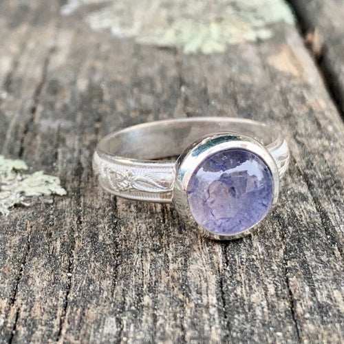 Round Tanzanite and Sterling Silver Ornate Band Ring, Rowena Watson Designs