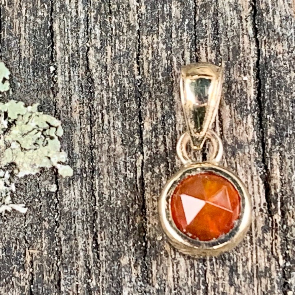9ct Gold and Mexican Fire Opal Pendant, Rowena Watson Designs