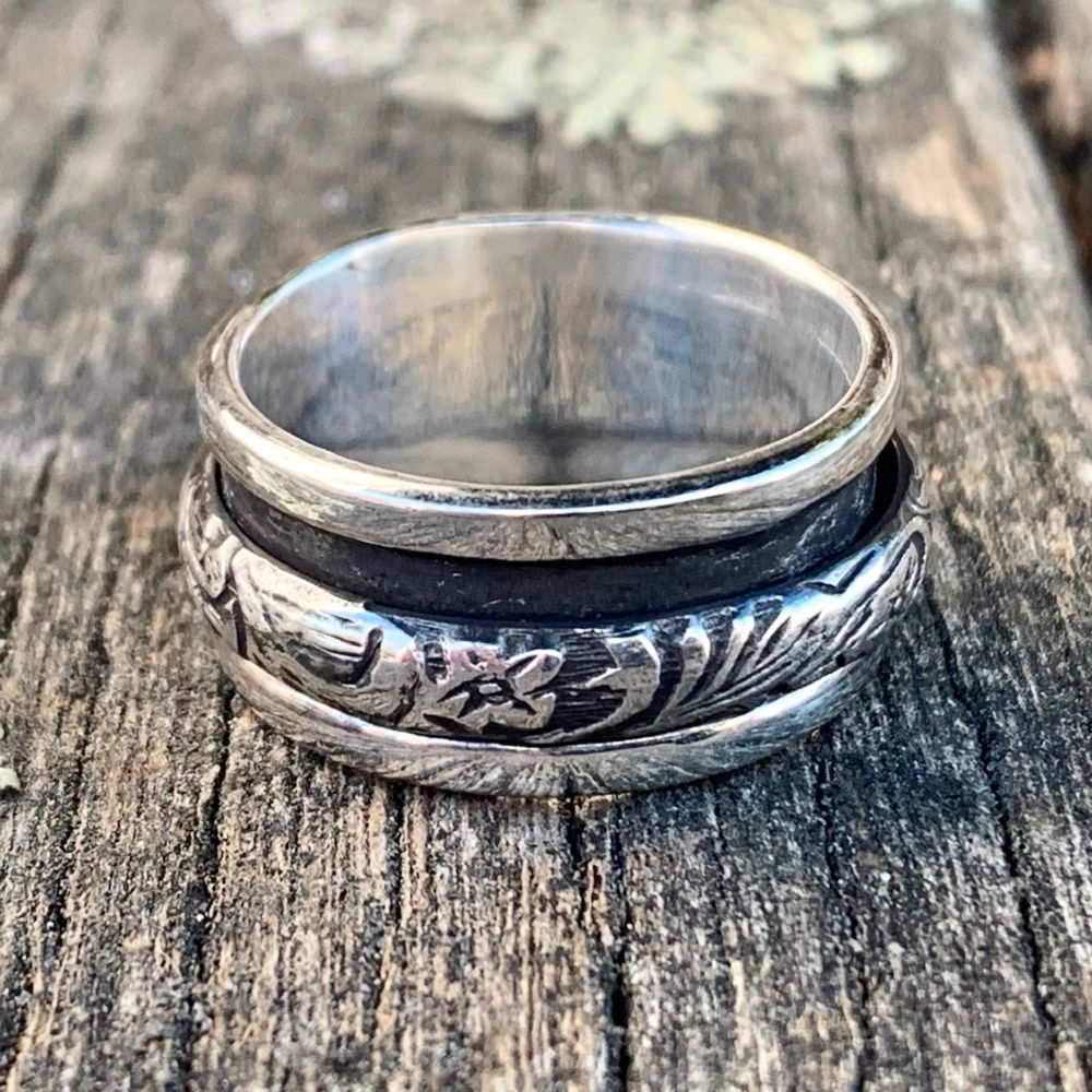 Oxidised Flower Spinner Ring, Rowena Watson Designs