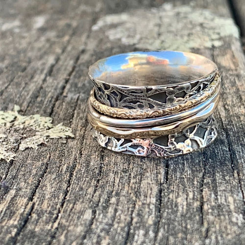 Sterling Silver and Gold Fill Triple Ornate Spinner Ring, Rowena Watson Designs