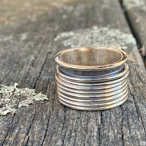 7 Band Sterling Silver Spinner Ring