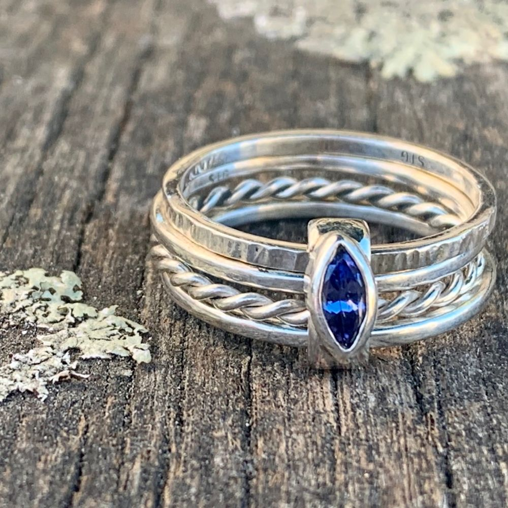 Fine Sterling Silver Tanzanite Unity Spinner Ring, Rowena Watson Designs