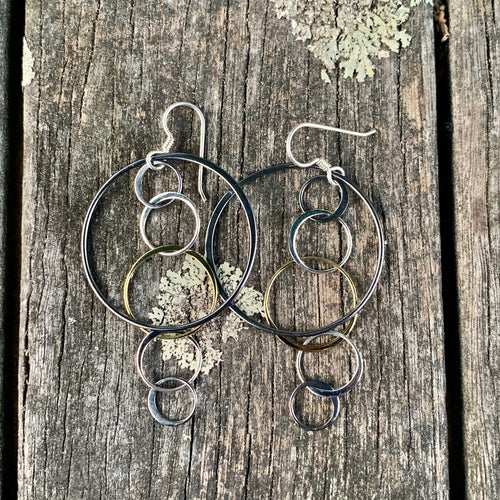 Shiny and Oxidised Multi-Hoop Earrings, Rowena Watson Designs