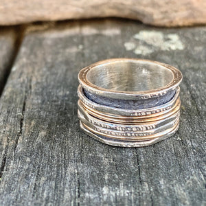 6 Band Sterling Silver and Gold Fill Spinner Ring