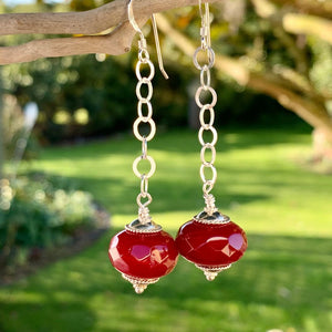 Faceted Red Glass and Sterling Silver Earrings, Rowena Watson Designs