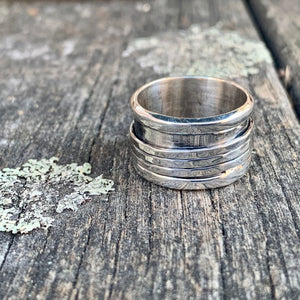 Sterling Silver 3 Band Spinner Ring, Rowena Watson Designs