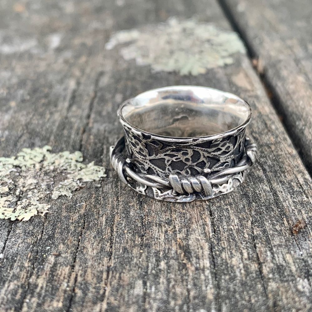 Ornate Barbed Wire Spinner Ring, Rowena Watson Designs