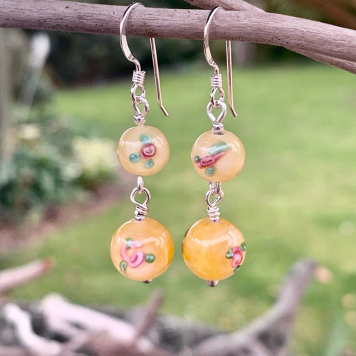Yellow Czech Rose Glass Earrings, Rowena Watson Designs