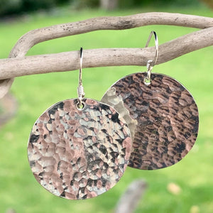 Sterling Silver Beaten Disc Earrings, Rowena Watson Designs