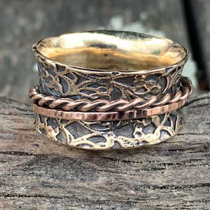 9ct Yellow and Rose Gold Ornate Spinner Ring, Rowena Watson Designs