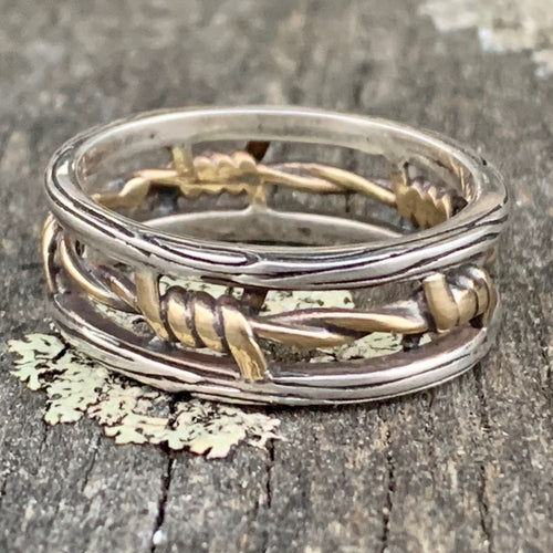 9ct Yellow Gold and Sterling Silver Barbed Wire Ring, Rowena Watson Designs
