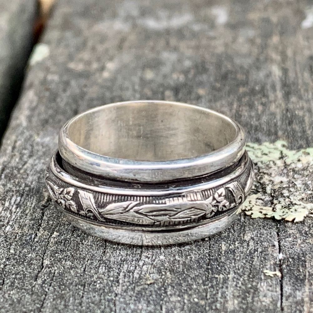 Oxidised Ouruhia Spinner Ring, Rowena Watson Designs