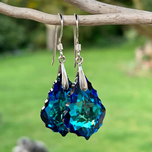 Swarovski Drop Earrings, Dark Blue