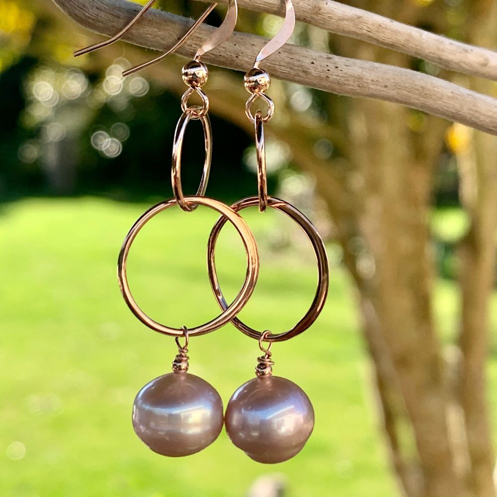Natural Pink Freshwater Pearl and Rose Gold Fill Earrings, Rowena Watson Designs