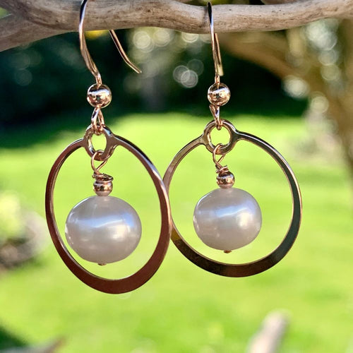 White Freshwater Pearl and Rose Gold Fill Hoop Earrings, Rowena Watson Designs