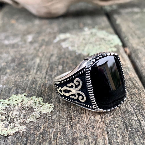 Black Onyx and Sterling Silver Signet Ring