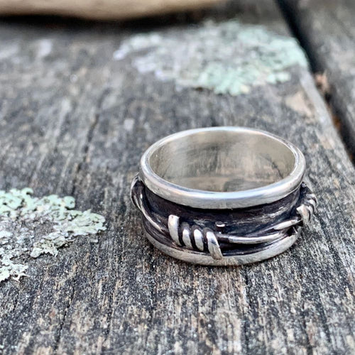 Sterling Silver Barbed Wired Spinner Ring, Rowena Watson Designs