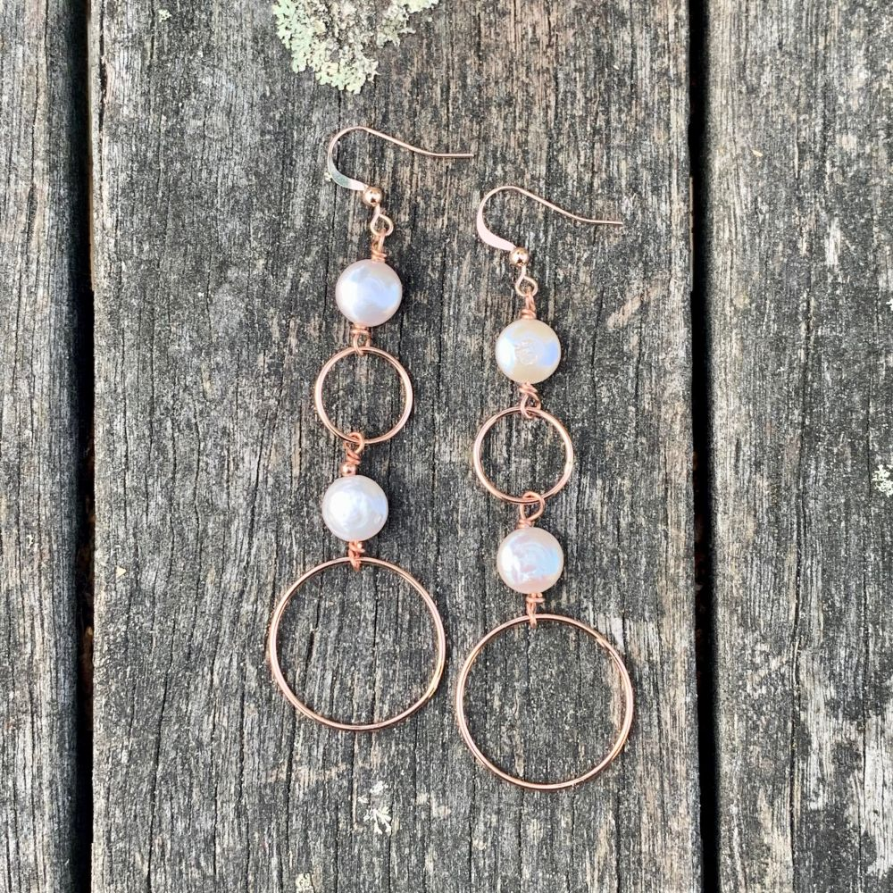 Freshwater Coin Pearl and Rose Gold Fill Earrings, Rowena Watson Designs