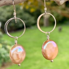 Natural Apricot Freshwater Pearl Earrings, Rowena Watson Designs