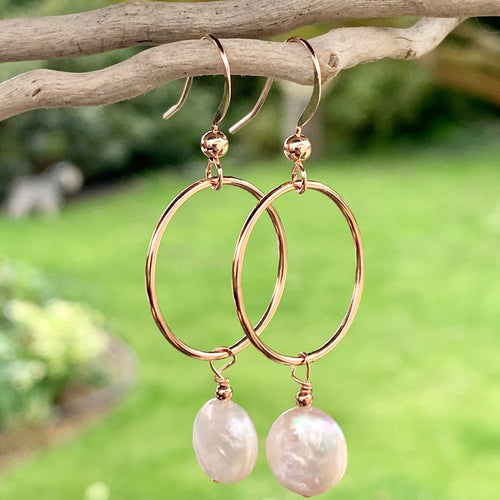 Freshwater Coin Pearl and Rose Gold Fill Earring, Rowena Watson Designs