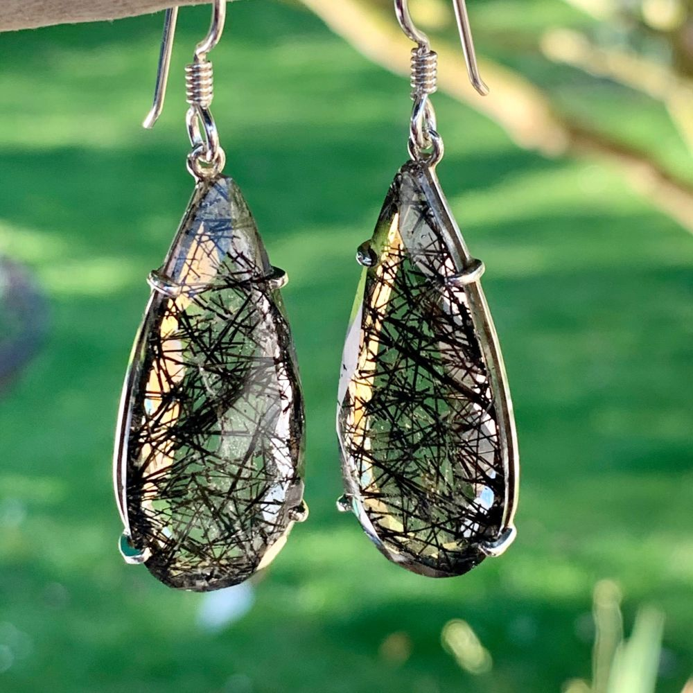 Matched Tourmalinated Quartz Earrings, Rowena Watson Designs