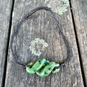 Marsden Flower Rau Kumara Bracelet, New Zealand Greenstone